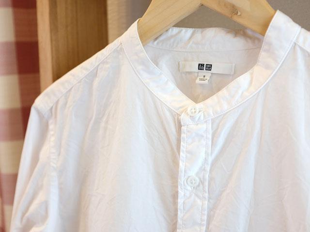 ユニクロのバンドカラーシャツ